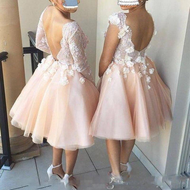 Puffy Short Bridesmaid <font><b>Dresses</b></font> vestido madrinha Appliques <font><b>Coral</b></font> Bridesmaid Gowns Lace Backless Wedding Guest <font><b>Dress</b></font> Custom Made