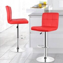 2 pcs Moda Moderna sedia di un Bar Morbido Cuoio DELL'UNITÀ di elaborazione Sgabello Sedia Girevole Regolabile Alto Sgabello Kitchen Living Room Decor Funiture HWC