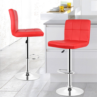2pcs Modern Fashion Bar chair Soft PU Leather Barstool Chair Swivel Adjustable High Stool Kitchen Living Room Decor Funiture HWC