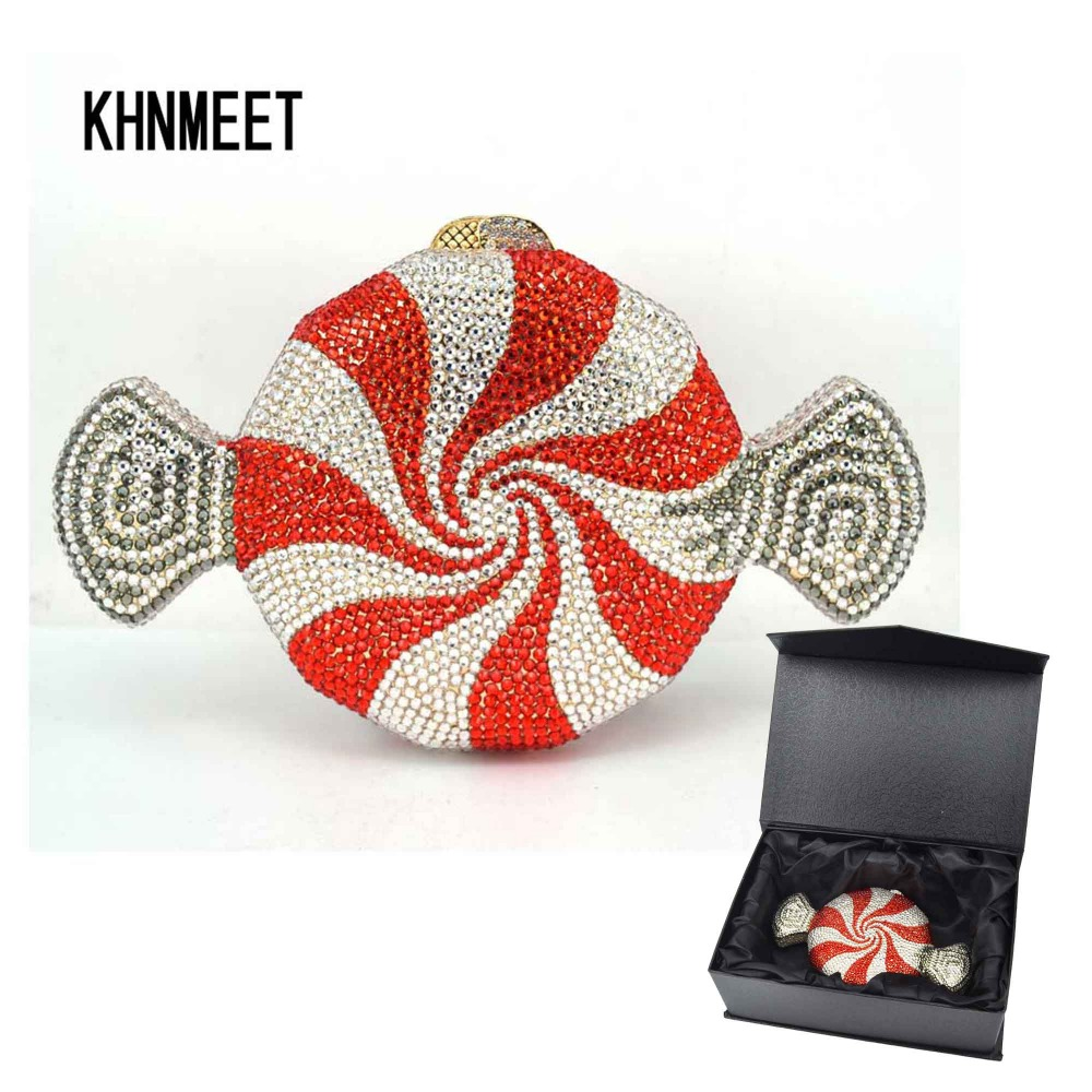 Designer Red Candy Purse Customized Luxury Crystal Evening Bag Sweetmeats Shape Chain Party Purse Female Bag SC579(China)