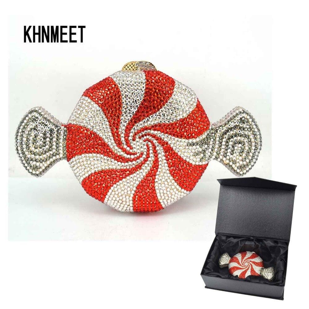 Projektant czerwone cukierki torebka dostosowane luksusowe kryształ wieczór torba słodycze kształt łańcucha kopertówka kobiet torba SC579 w Torby z uchwytem od Bagaże i torby na  Grupa 1