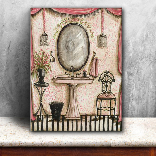 Pastoral Bathroom Bath Shower Curtain Canvas Printings Oil Painting Printed On Living Room Wall Art Decoration Picture