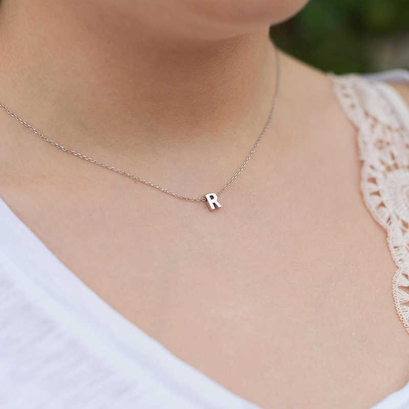 Moda collar de plata dorada elegante colgante de 26 letras Cadena de clavícula encantos personalizados joyería mujeres niñas collares de regalo
