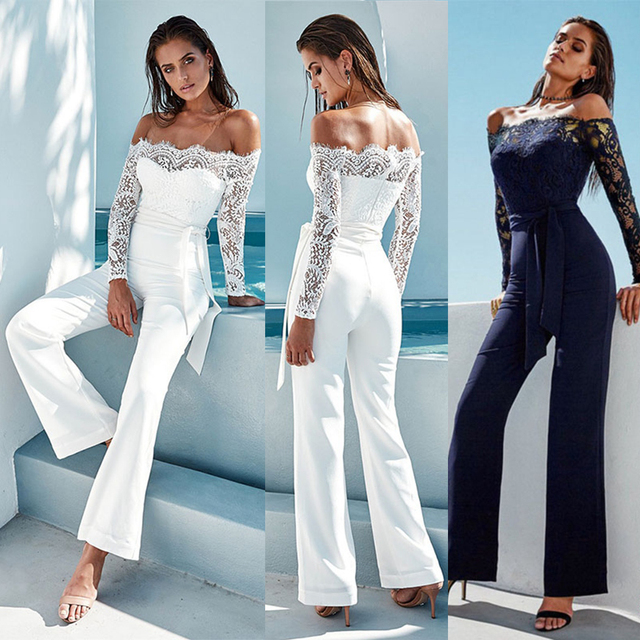 48ec7ddb10ba 2018 Sexy Summer Fashion Off Shoulder Women Jumpsuits Lace Long Sleeve  Flare Pants Rompers Elegant Ladies Bow Bodysuit Bodycon