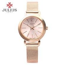 Юлий роскошные Брендовые женские часы Мода розовое золото часы женские модные повседневные Кварцевые женские наручные Reloj Mujer Часы женские