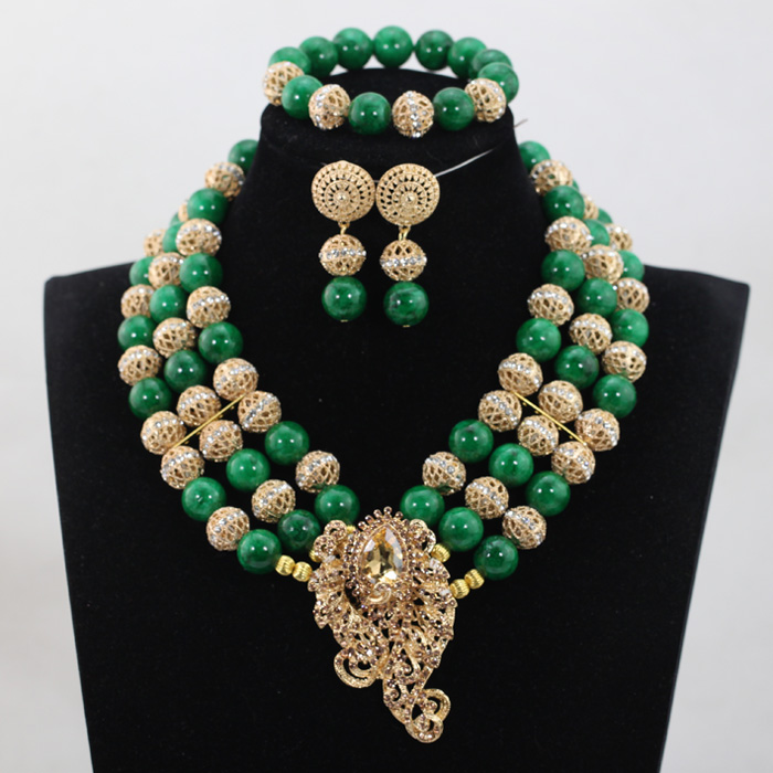 Brooch Chunky Necklace Set Hot 2017 Latest Greenery African Beads Nigerian Wedding Jewelry Sets Green Costume Women ABH264 In From