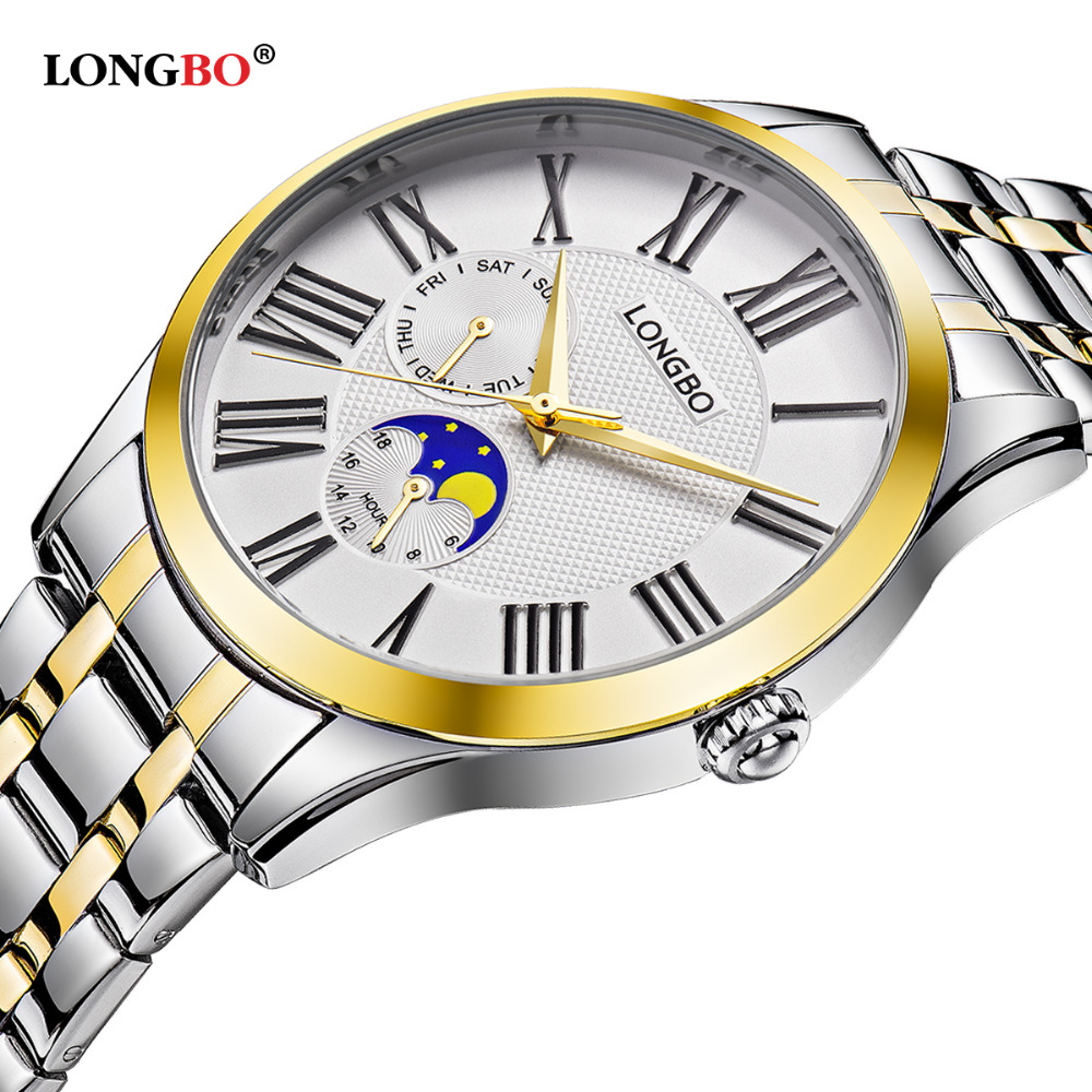 Longbo Stainless Full Steel Watch Analog Quartz Male Clock Flight Hour Mens Wrist Casual Fashion Sport Waterproof Watch 5013 golden silver transparent hollow dial quartz men wrist watch stainless steel band casual sport watches man analog male clock gif