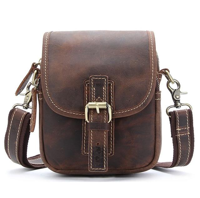 5449ae8c11f4 2017 Vintage Crazy Horse Genuine Leather Men Bags Men Messenger Bag Man  Shoulder Crossbody Bags Leather Handbag Male Small Bag