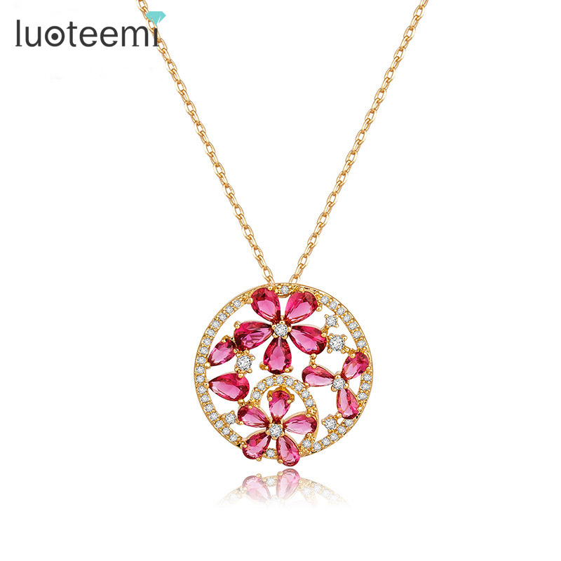 LUOTEEMI Design Luxury Round Elegant Pendant with Mirco Paved Cubic Zircon Red Flower Necklace Champagne Gold-Color JewelryLUOTEEMI Design Luxury Round Elegant Pendant with Mirco Paved Cubic Zircon Red Flower Necklace Champagne Gold-Color Jewelry