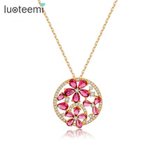 LUOTEEMI Design Luxury Round Elegant Pendant with Mirco Paved Red Cubic Zircon Flower Necklace Champagne Gold Plated Jewelry