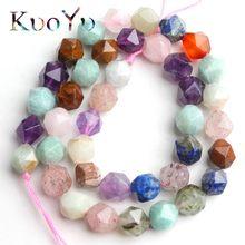 Miçangas espaçadoras para fazer jóias, contas coloridas de pedra misturada natural, pedras soltas, pedras para fazer pulseira colar 15 ''/8/10mm