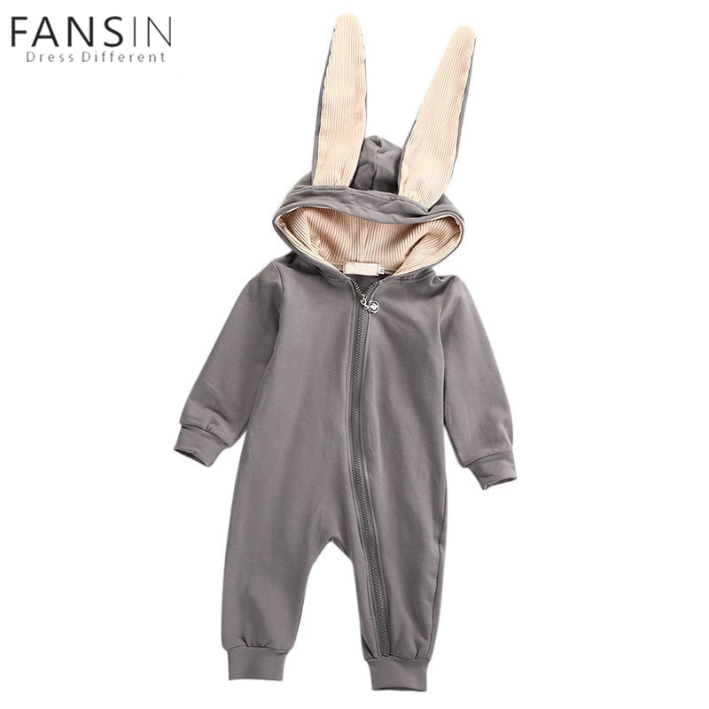 New Winter Baby Rompers Cute Cartoon Rabbit Infant Toddler Girls Boys Hoodie Jumpsuit Kids Baby Outfits Clothes Costume