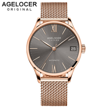 AGELOCER Luxury Brand Men 316L Stainless Steel Gold Watch Men's Automatic Mechanical Clock Man Waterproof Wrist Watches Mens