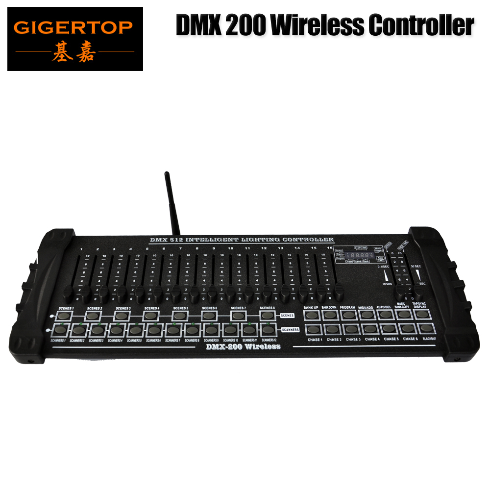 TIPTOP Stage Light DMX512 / 1990 Standard 200 Console de support de console de scène sans fil 2.4G Poignée en plastique 192 canaux de sortie