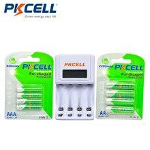 4 шт. NiMH Перезаряжаемые Батарея AA 1.2 В 2200 мАч + 4 шт. 850 мАч 1.2 Вольт Ni-MH AAA Батареи + 1 шт. AA/AAA Батарея Зарядное устройство с ЖК-дисплей