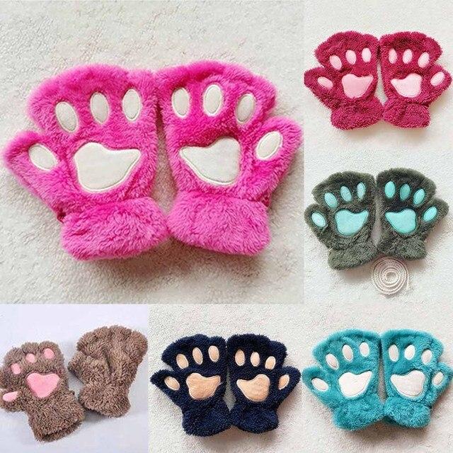 Новый 1 пара зима Для женщин милый кот Коготь Paw плюшевые варежки короткие пальцев Половина Finger Прихватки для мангала