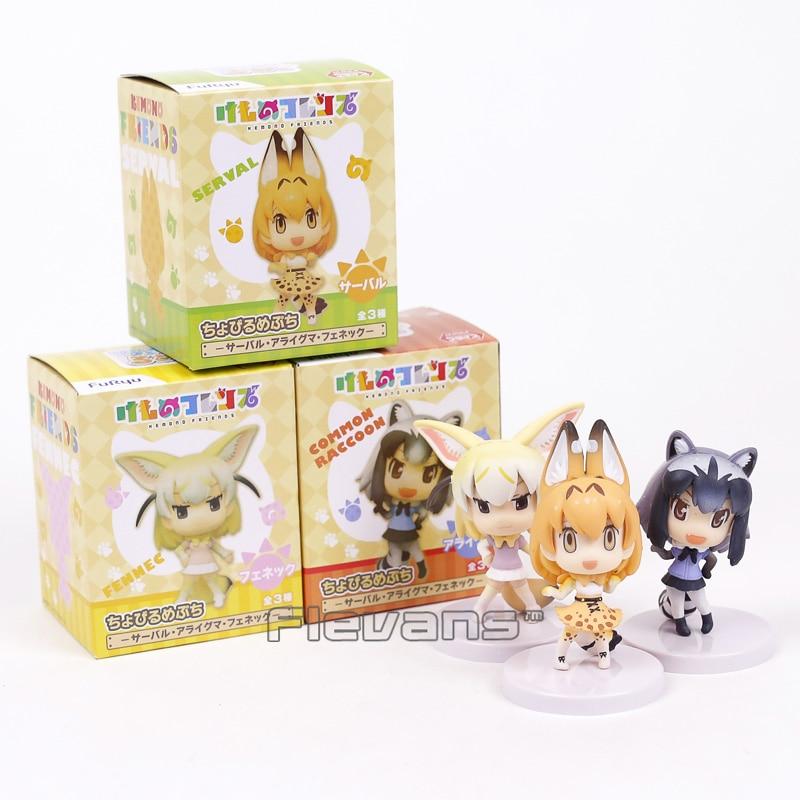 3PCS//Set Kemono Friends Serval Raccoons Fennec PVC Figure New in Box