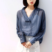 New Striped Shirt Women Autumn 2019 Fashion Thin Breathable V-Neck Loose Casual Blue Tops