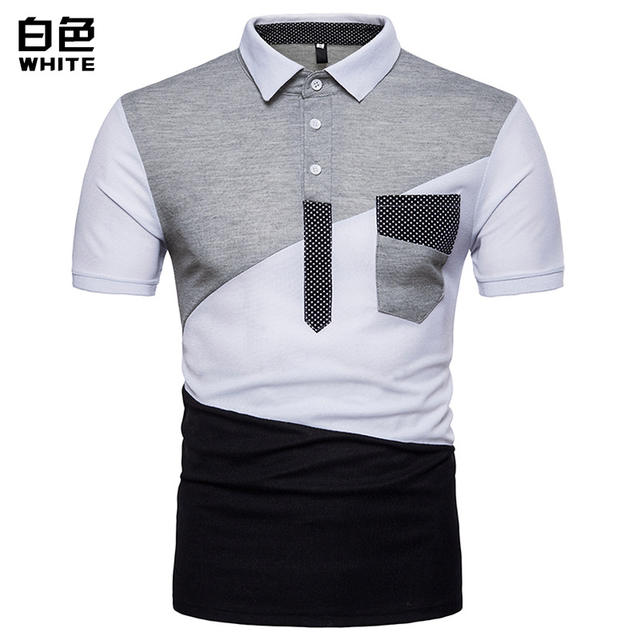 New Style Plus Size Shirt Men Polo Contrast Color Slim Fit Summer Short Sleeve Polo Shirt Men Turn-down Collar Camiseta Polo
