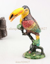 Bird Crafts Figurine Gift Animal Bird Multi Color Display Trinket Box Love Bird Faberge Rhinestone Jewerly Trinket Box