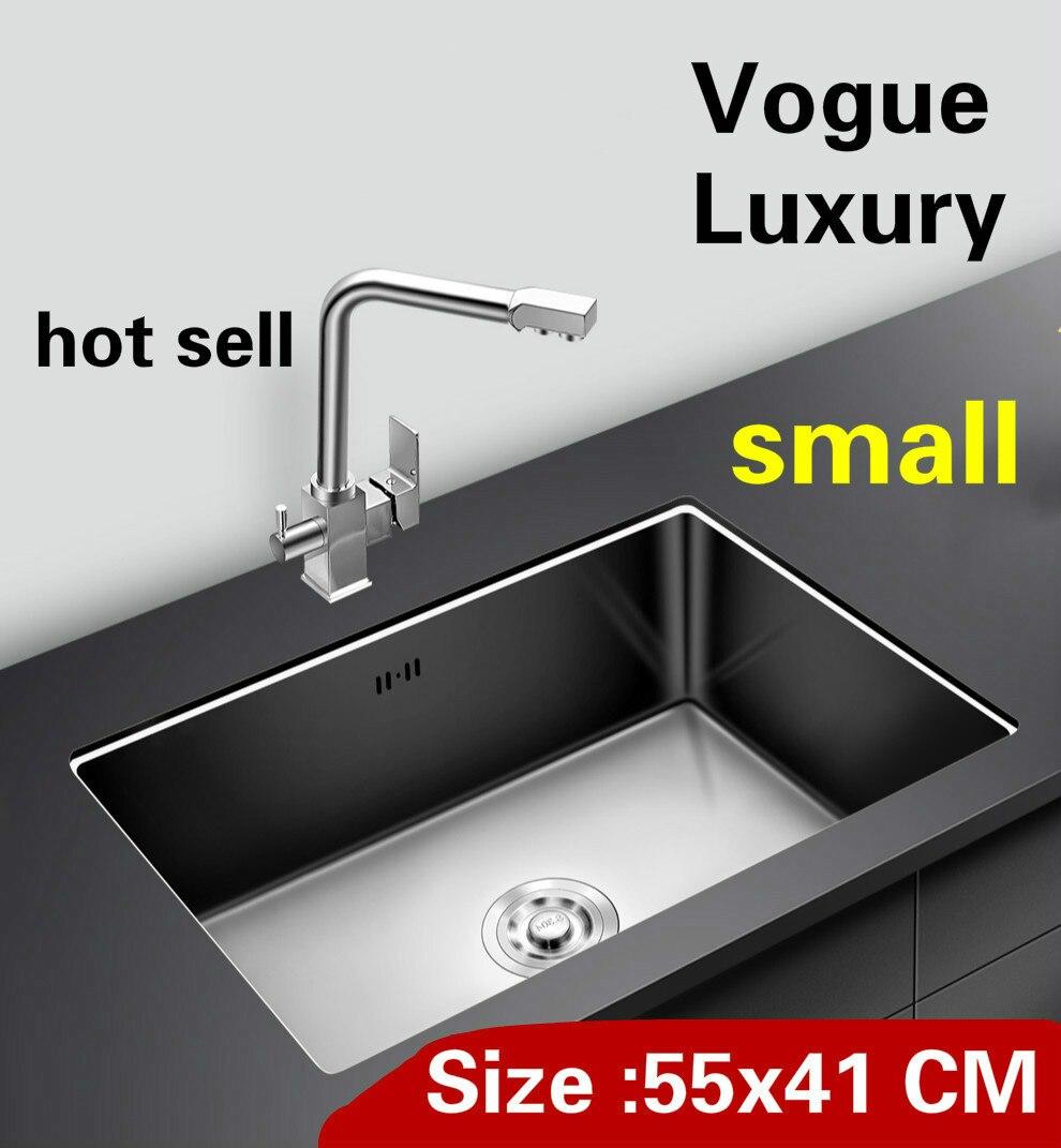 Livraison gratuite Appartement cuisine manuel évier creux unique faire la vaisselle standard 304 en acier inoxydable vente chaude petit 550x410 MM