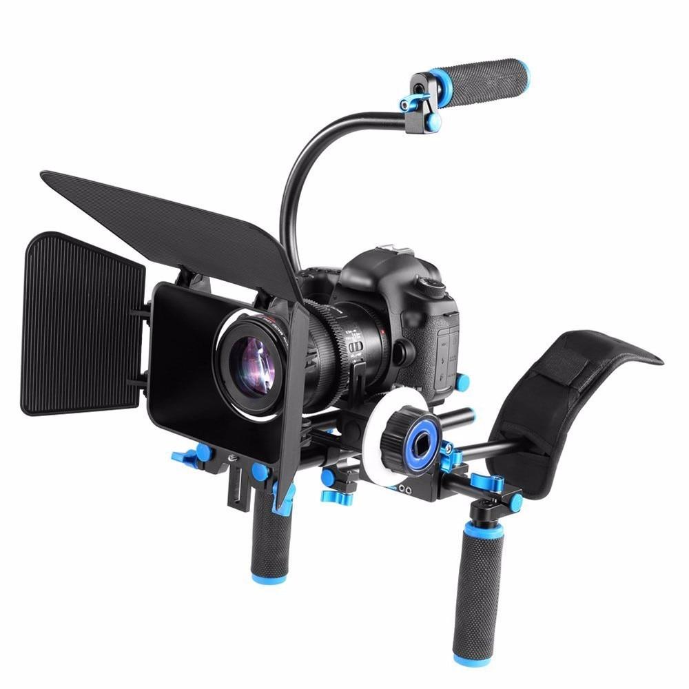 DSLR Shoulder Rig Camera Rig 영화 필름 지원 키트 Canon Nikon Sony BMCC GH4 비디오 캠코더 용 Focus Matte Box를 따르십시오