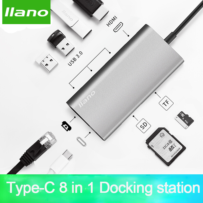 llano USB docking station All-in-One USB-C to HDMI Card Reader RJ45 PD Adapter for MacBook Samsung Galaxy S9 /S8 / S8+Type C HUB multi function usb 3 0 type c hub micro sd tf card reader otg adapter for macbook pro nokia 950 samsung galaxy s8 qjy99