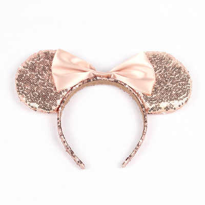 Golden Headwear Hairband Sequin Bow Headband for Girls Minnie Mouse Ears Hairbands Birthday Party Kids Fashion Hair Accessories