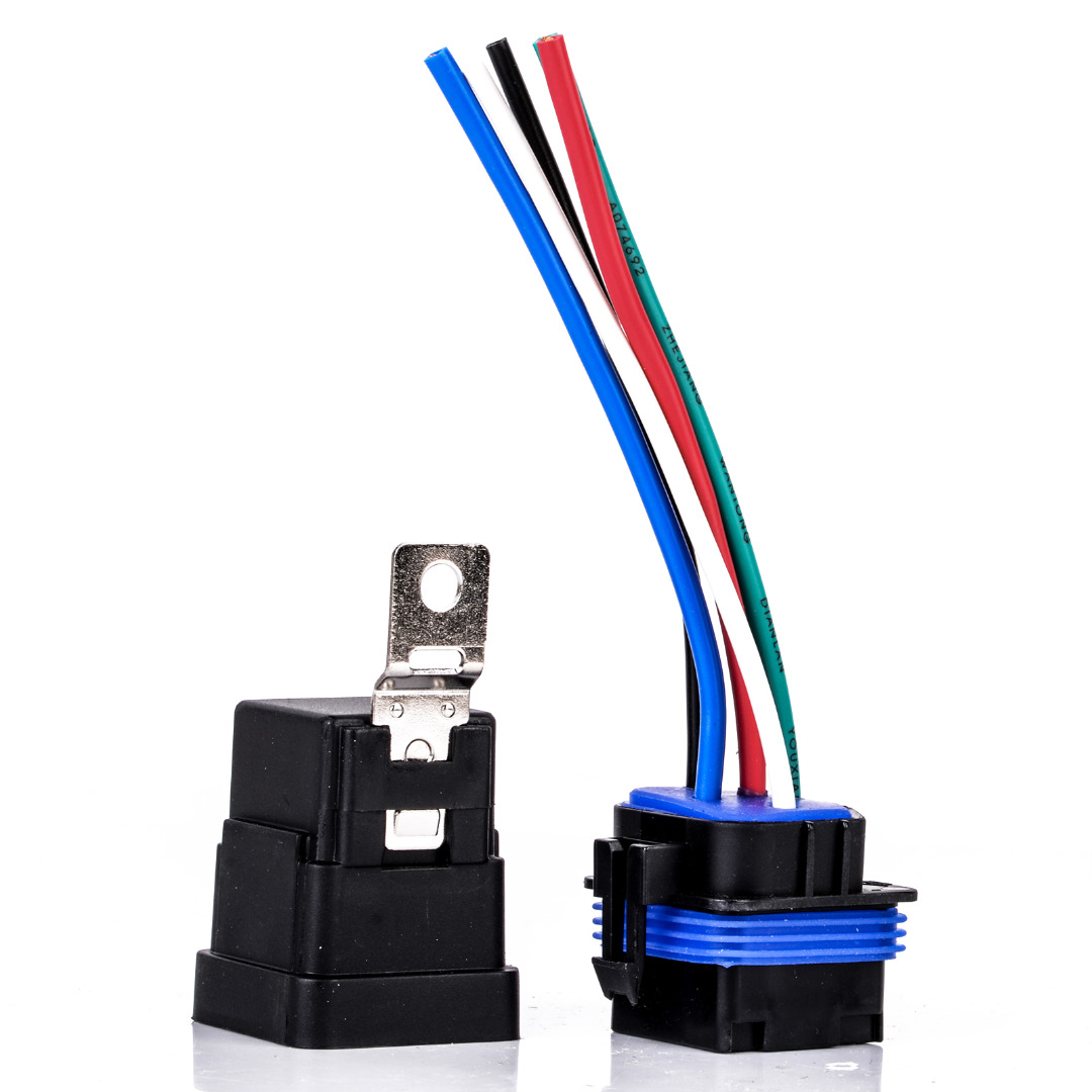 1 Set 4 Pin Automobile Relay Waterproof Integrated Wired Auto Relay + Holder With Wires DC 12v 40A waterproof integrated automotive relay 12v 4 feet 40a normally open with a line containing a socket