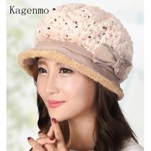 Kagenmo модная осенне-зимняя женская панама Осенняя толстая шерсть женские шляпы для рыбалки холодная зима уличная теплая шапка