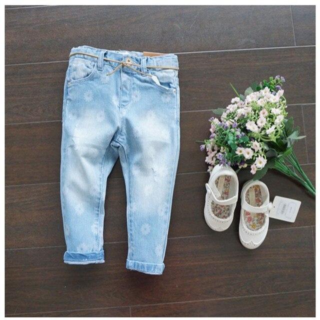 Горячие Моды девочка джинсы дети девушки леггинсы джинсы цветок дети джинсовые брюки Дети узкие джинсы для девочек