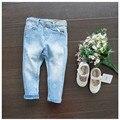 Hot Moda Bebê jeans menina crianças leggings meninas calças de brim flor crianças denim calças Crianças calças jeans skinny para meninas