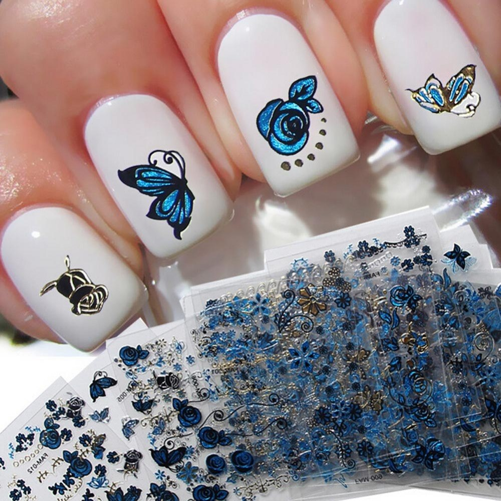 Nail Art Stickers: Beautiful Flowers Nail Tools 24pcs/Set Blue Flower Silver