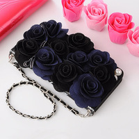 For Samsung galaxy s6 s7 edge s8 s9 plus note 4 5 8 Luxury Fashion 3D rose flower Flip handbag wallet Leather phone case lanyard
