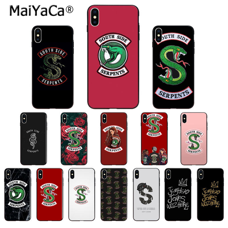 MaiYaCa <font><b>Riverdale</b></font> South Side Serpents Snake Silicone TPU Soft Phone <font><b>Case</b></font> for <font><b>iPhone</b></font> X XS MAX <font><b>6</b></font> 6s 7 7plus 8 8Plus 5 5S SE XR image