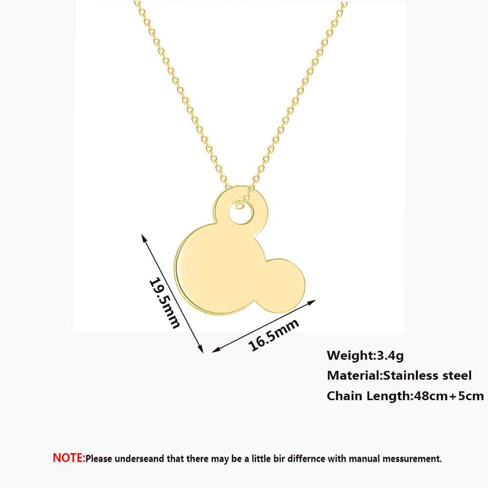 Chandler Stainless Steel Gold Color Cartoon Mickey Necklace Mouse Head Pendant Long Necklaces For Girls Animal Kids Collier