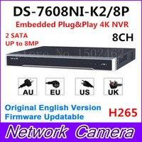 Hikvision Englische Version DS-7608NI-K2/8 P Embedded Plug & Play 4 Karat NVR Unterstützung H.265 2 SATA 8MP 8POE 8CH Netzwerk Dhl-freies Verschiffen