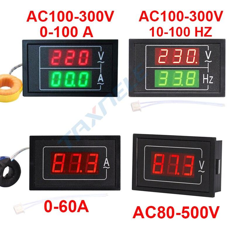 DL85 AC80-500V 100A 60A Dual Display Voltage Current Meter Detector Frequency Meter Amperimetro LED Voltmeter Ammeter AC Meter
