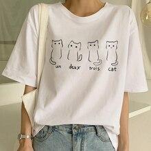Kawaii Cat T Shirt Meow Women Funny Cartoon Print Tshirt Har
