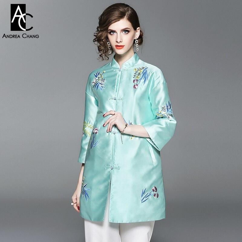Rose Femme Xxl Veste Bleu Automne Floral Vert Manteau Chinois Broderie rose Vintage Style Hiver Long Clair Bleu Motif 5ZpwEqxvp