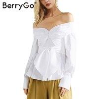 BerryGo Off Shoulder Waist Bow White Blouse Shirt Women Long Sleeve Zipper Button Blouse Casual Autumn