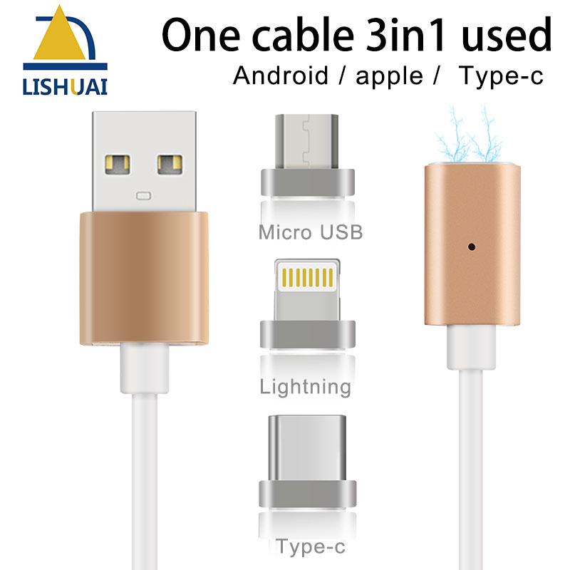 Strong Magnetic Charger Cable Fast Charging Data USB Magnet Cable for Apple iPhone/Micro-USB/Type-C keymao magnetic cable fast charging usb cable for iphone ipad 1m nylon magnet charger kabel data