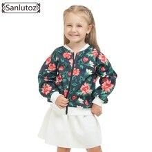 Sanlutoz Enfants Vêtements Ensemble Fille Fleur Enfants Vêtements D'hiver Todder Sport Costumes D'hiver Noir Blanc (veste + Jupe) 2016 2 pcs