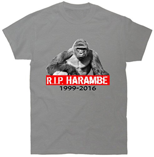 New Short Sleeve Round Collar Mens Top Tee Fashion 2017 T Shirt Rip Harambe Rest In Peace Gorilla R.I.P. Tribute T-Shirt