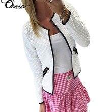Celmia plus size S 4XL Women Jacket 2019 Autumn Women Basic Jacket Long Sleeve Pockets Slim