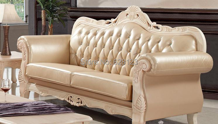 SFE018 High End European Leather Sofa New Classical Solid Wood Carve  Patterns Or Designs On Woodwork French Sofas Sitting Room In Living Room  Sofas From ...