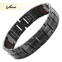 Vivari Магнитная черный Титан браслет Для мужчин браслет 4in1-VE ионы Германий далеко инфра красные модные Браслеты Jewelry Шарм наручные