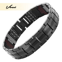 2016 Men 4in1 Magnets Negative Ions Germanium Far Infra Red Titanium Bracelet Black Bangle Free Shipping