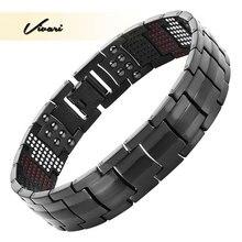 Vivari magnético preto titânio pulseira masculino 4in1 ve íons germânio distante infra vermelho moda charme pulseiras jóias pulso