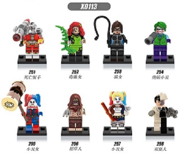 Single Sale Super Heroes Scarecrow Catwoman Deadshot Harley Quinn Joker Two Face Model Building Blocks Children Gift Toys X0113